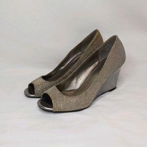 Bandolino Sparkly Silver Open Toed Wedge Heels